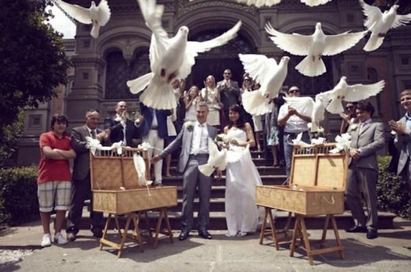 Many white wedding doves of two basket