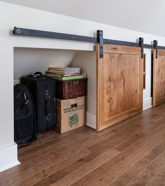 under the eaves storage with barn style mini doors