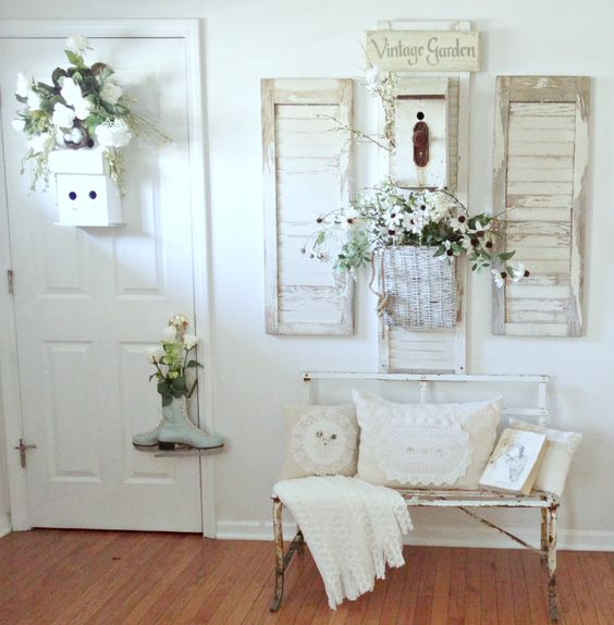 shabby chic cottage style whitewashed entryway