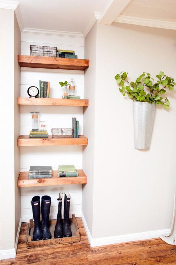 open shelves in the corner