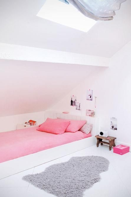 attic blush and pink girl's room