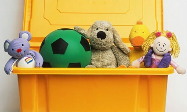 Storage boxes for toys in blue color