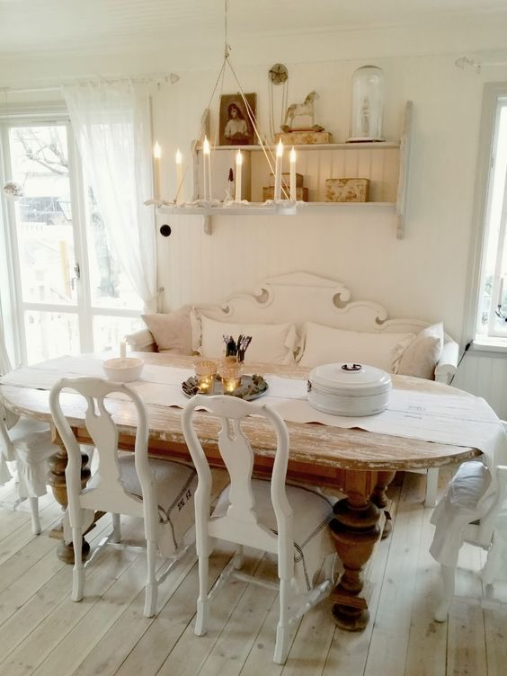 shabby rustic wooden table on massive legs