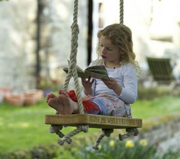 Children's swing rope wood small girl with book