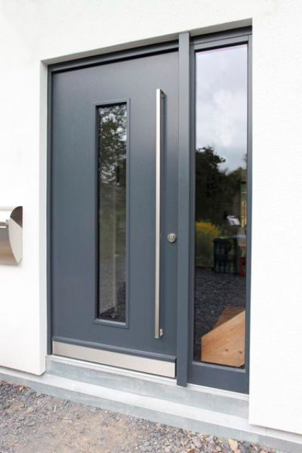aluminum door with a glass sidelight
