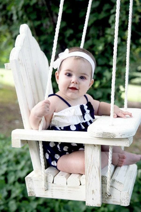 Children's swing wooden rustic effect