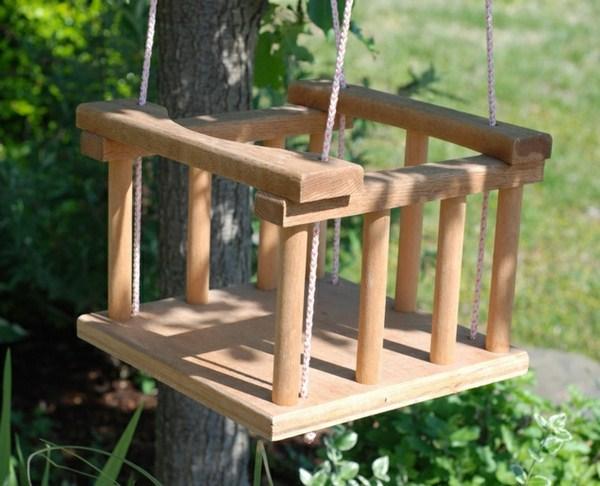 Children's wooden swing very small