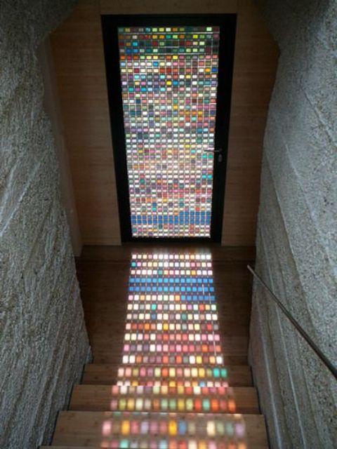 Pantone slide swatch colorful glass door