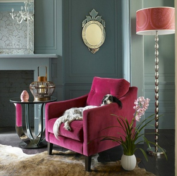beautiful interior design chair in pink floor lamp and big dog