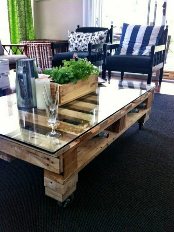 build coffee table designed by white glass tabletop