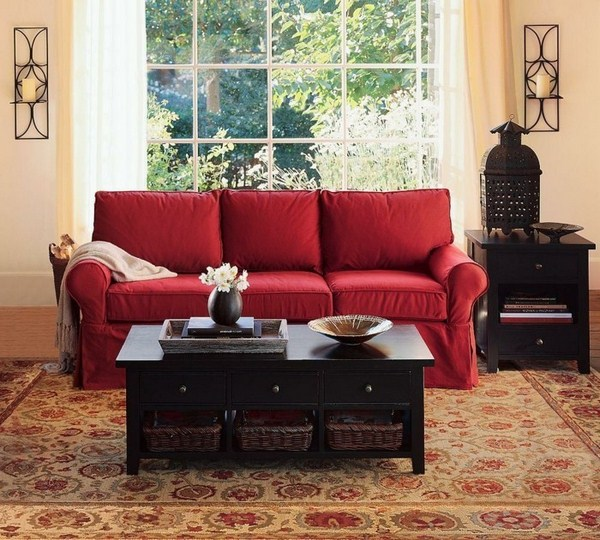 Romantic living room with red sofa and interesting table-jewelry