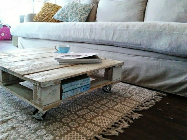 build coffee table designed by pallets or waste wood