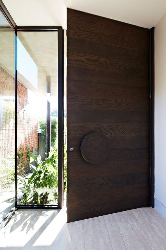 minimalist wood and glass doors