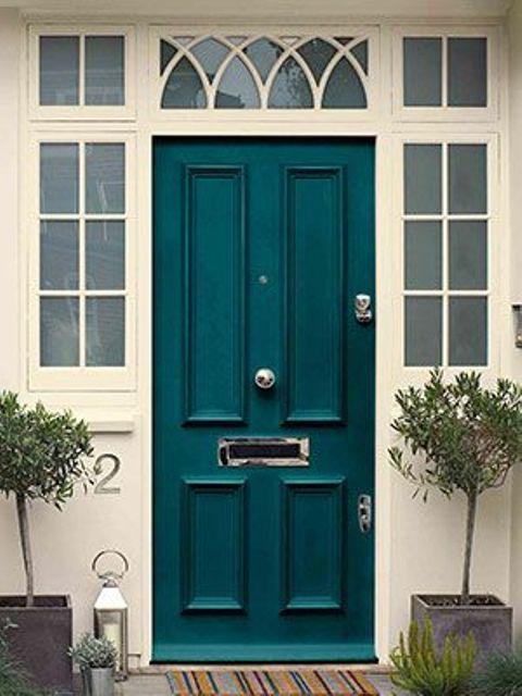 classic teal front door