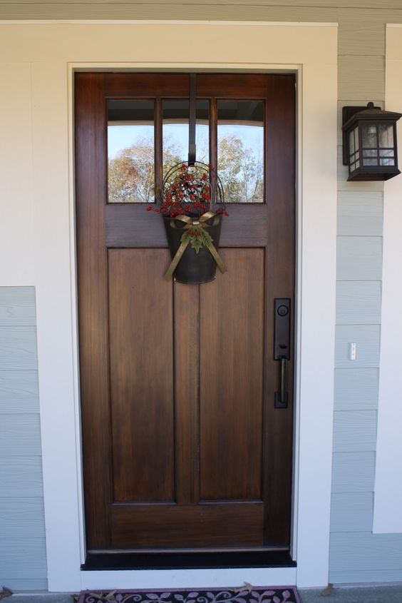 modern dark stained wooden door with glass panes