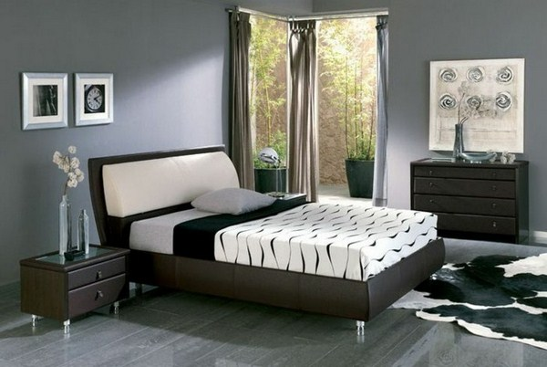 gray-wall-color-model-attractive-bedrooms-comfortable-bed