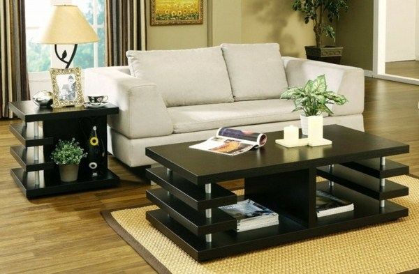 modern sofa and black table with a nice nest jewelery in lounge
