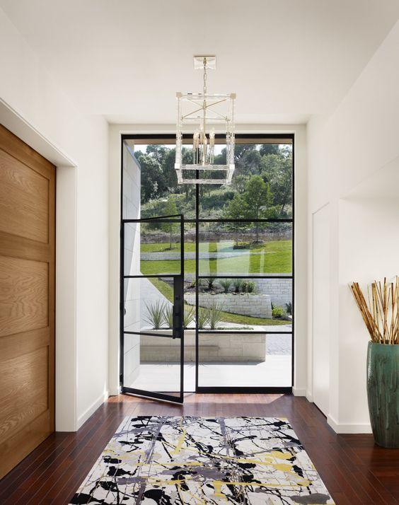 sleek modern steel and glass doors