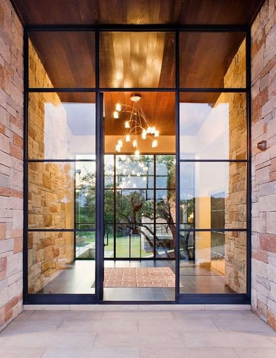 modern black steel and glass front doors
