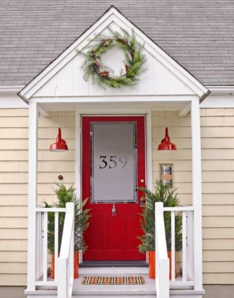 red door with etched glass adn house number on it