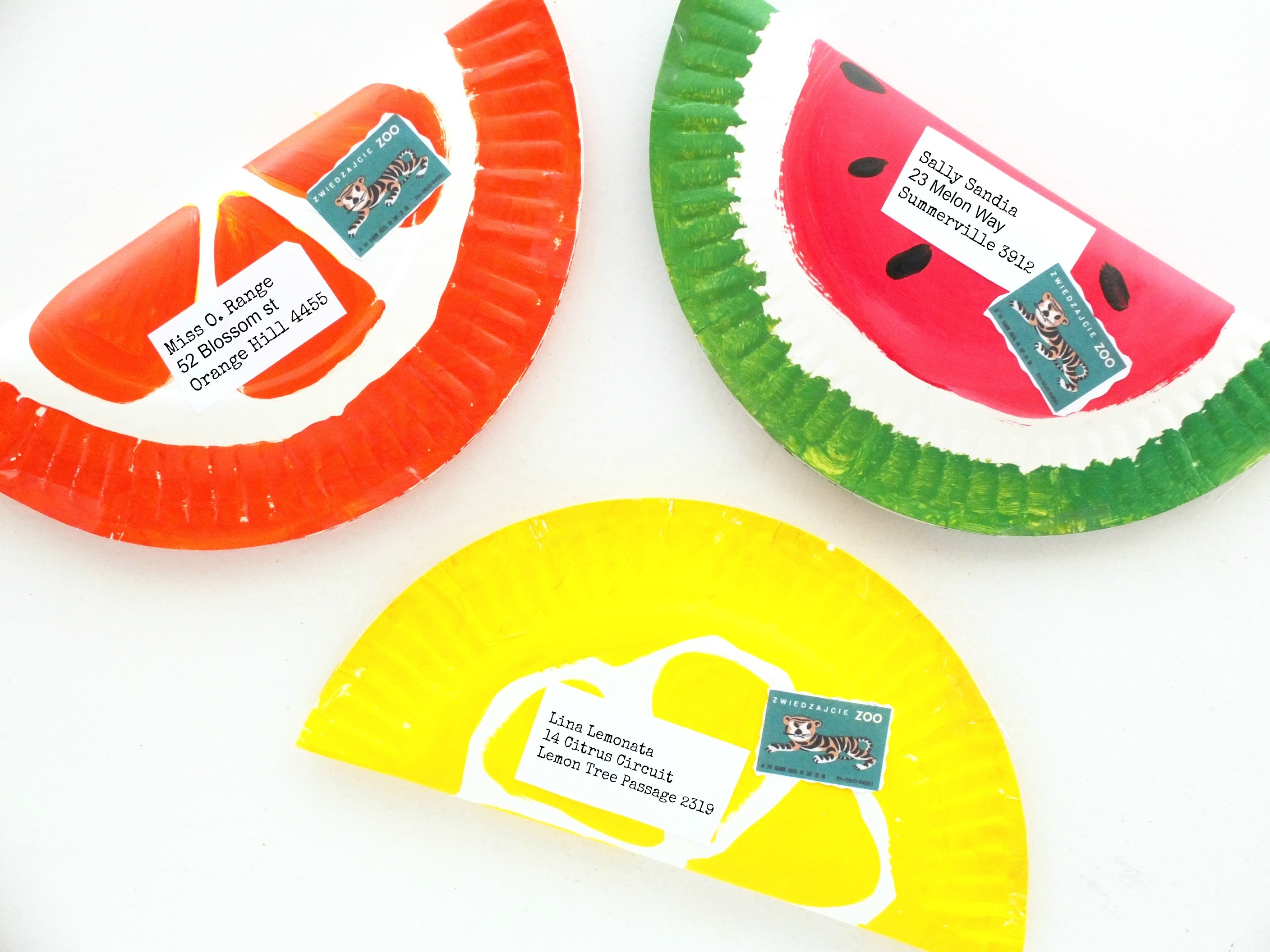 DIY fruity paper plate envelopes