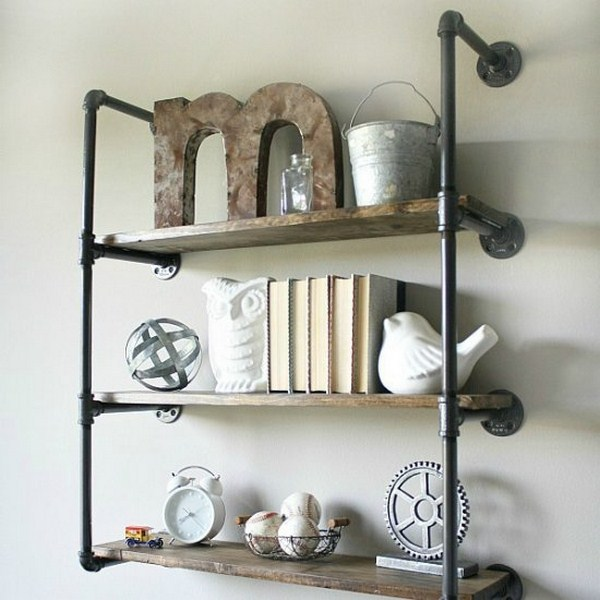 industrial style wall shelves diy