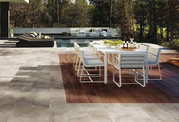 Customize terrace flooring tiles wood optics dining table