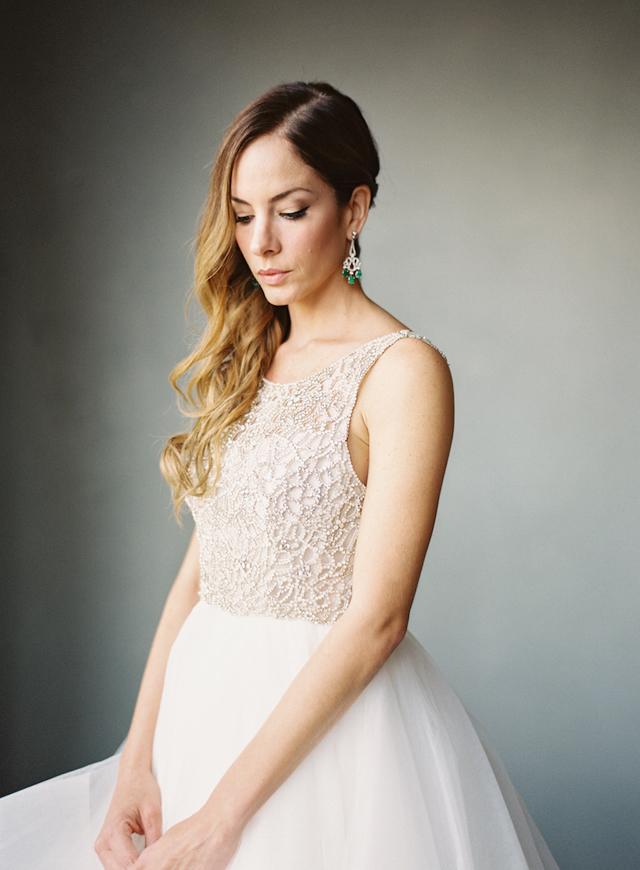 10-bride-emerald-earrings-hayley-paige-gown