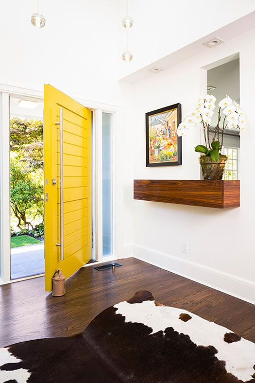 oversized yellow plank front door