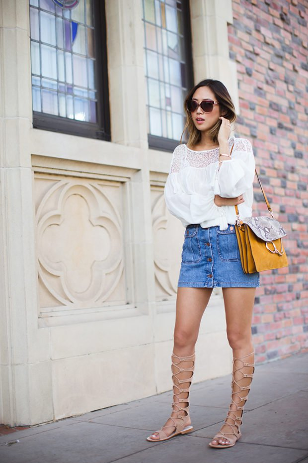 16 Lovely Denim Skirt Outfit Ideas For Summer