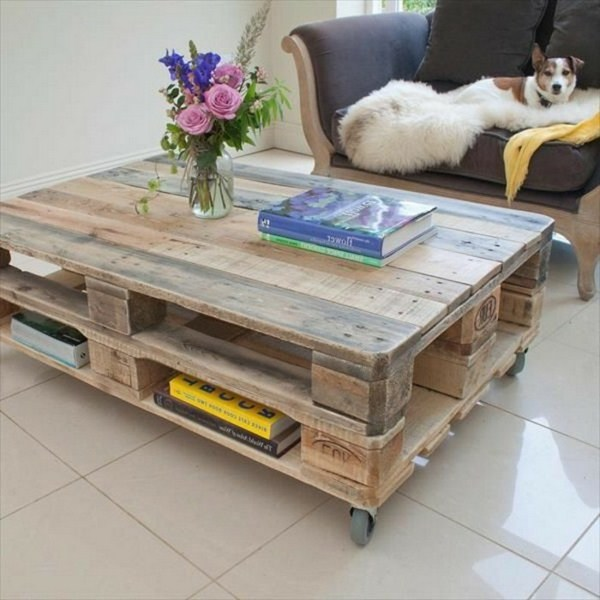 Coffee table designed by expanding pallets white