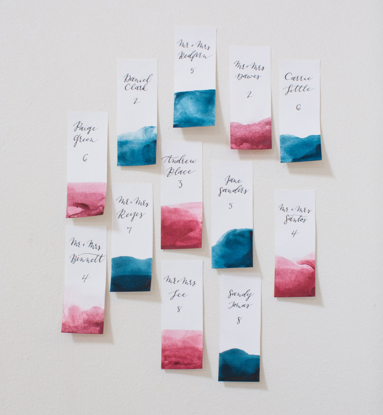 dip dyed escort cards