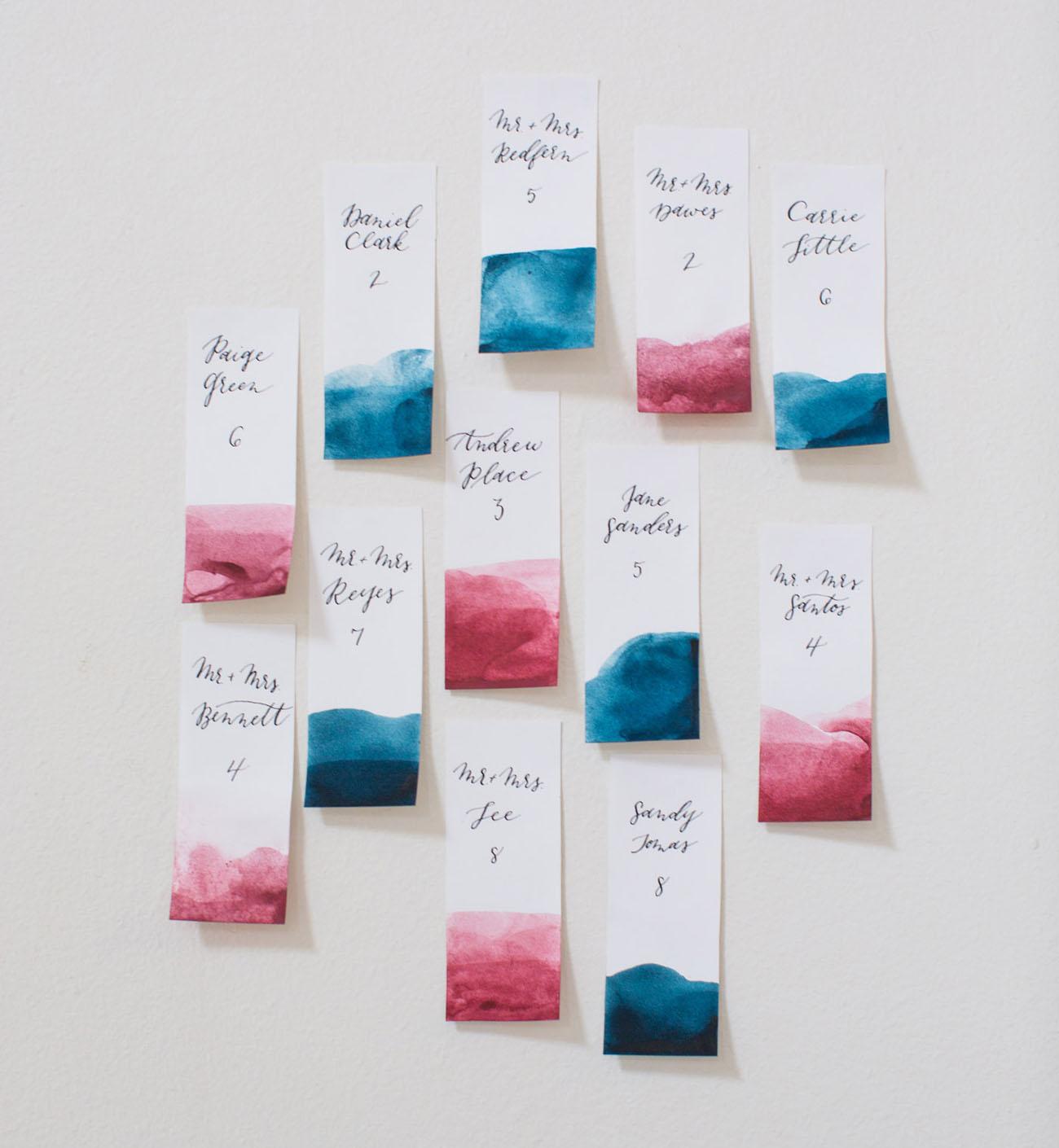 dip dyed escort cards