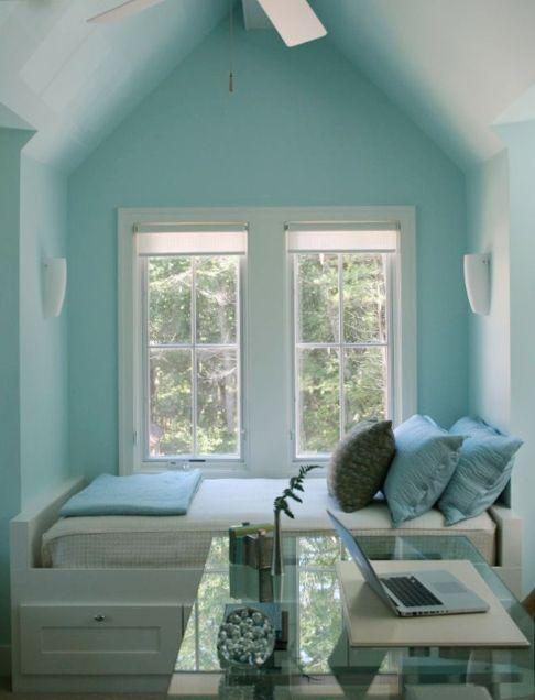 cozy turquoise sleeping nook