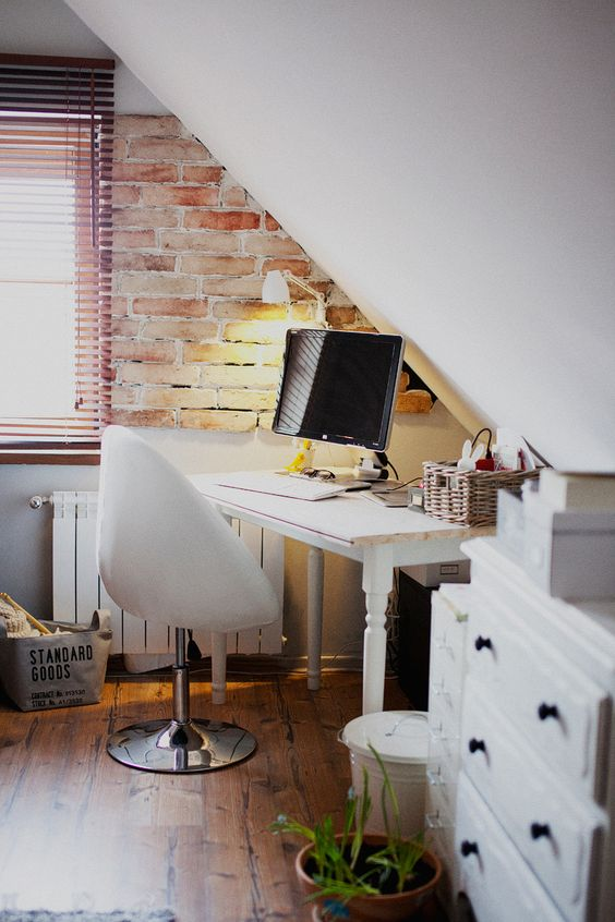 industrial attic home office nook