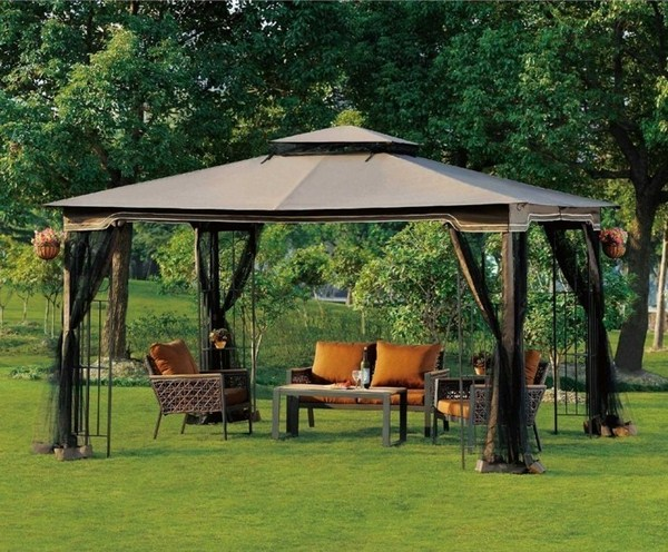 Pavilion tent with designer furniture