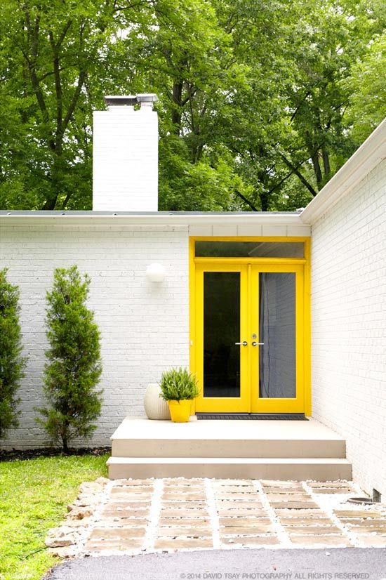 yellow glass front doors