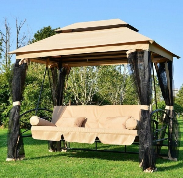 Garden tents with comfortable elegant swings