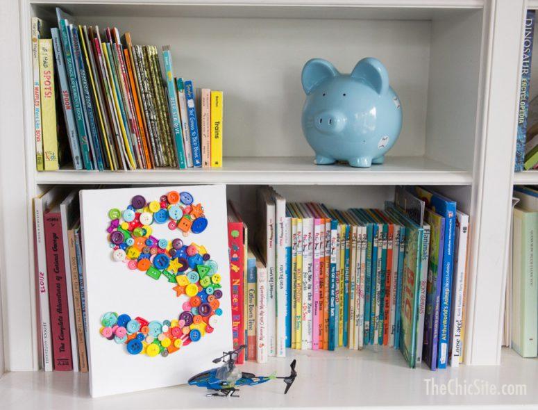 DIY button monogram wall art for kids