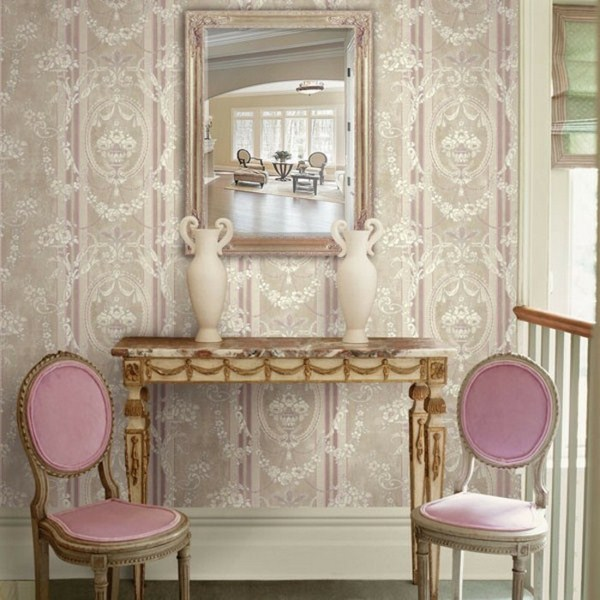 retro wallpaper for a romantic wall design and two beautiful rosy chairs