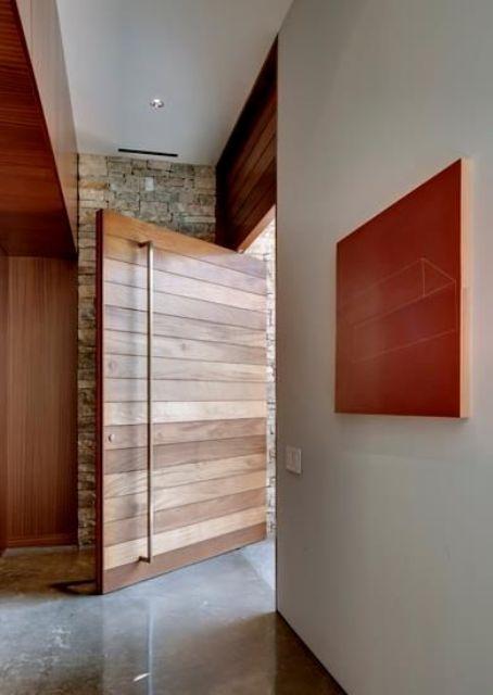 oversized modern wooden planks design