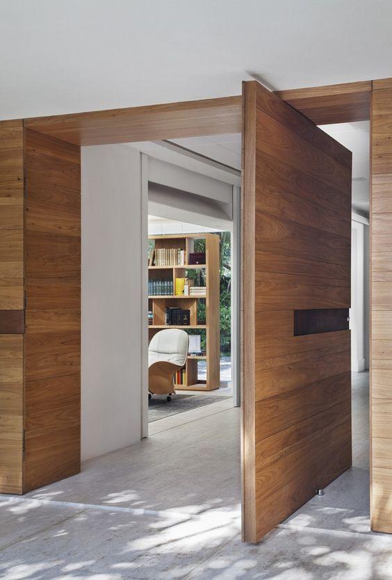oversized pivot wooden plank door
