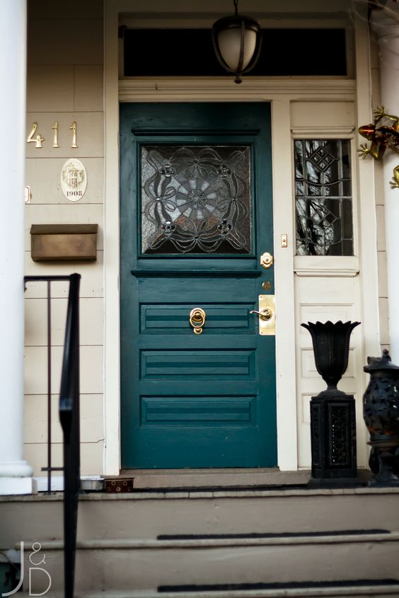 teal and glass mosaics front door design