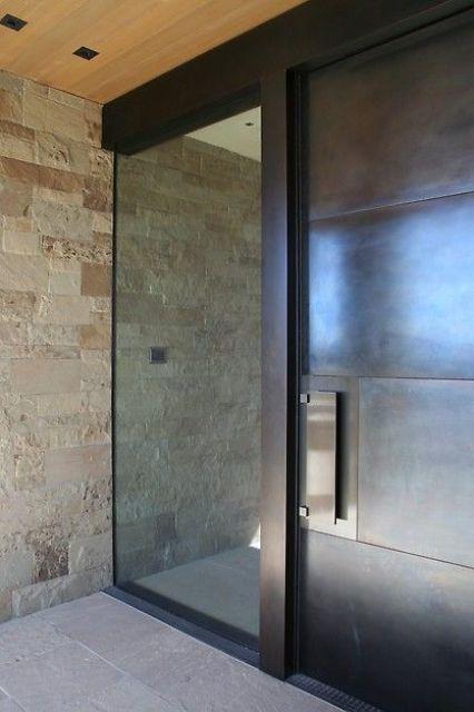 minimalist glass and steel front doors