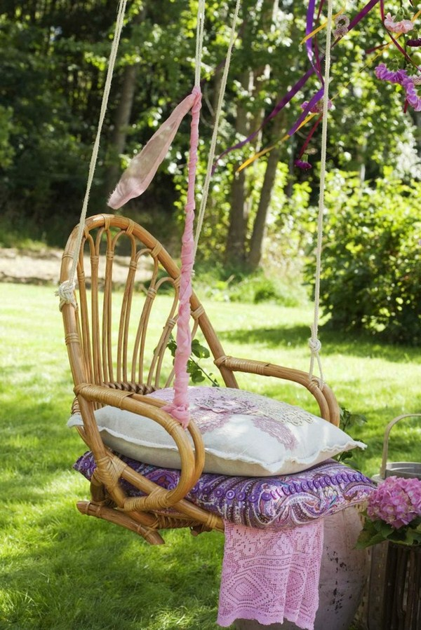 Kids swing two pillow from rattan