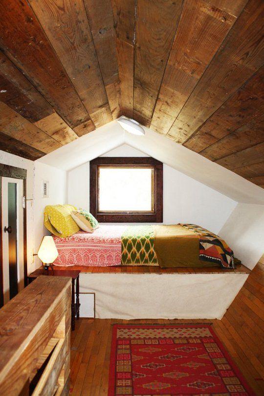 attic sleeping nook in mid century modern style