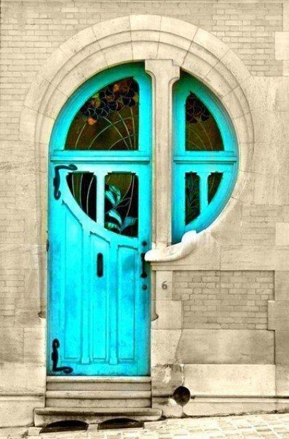 art nouveau turquoise front door