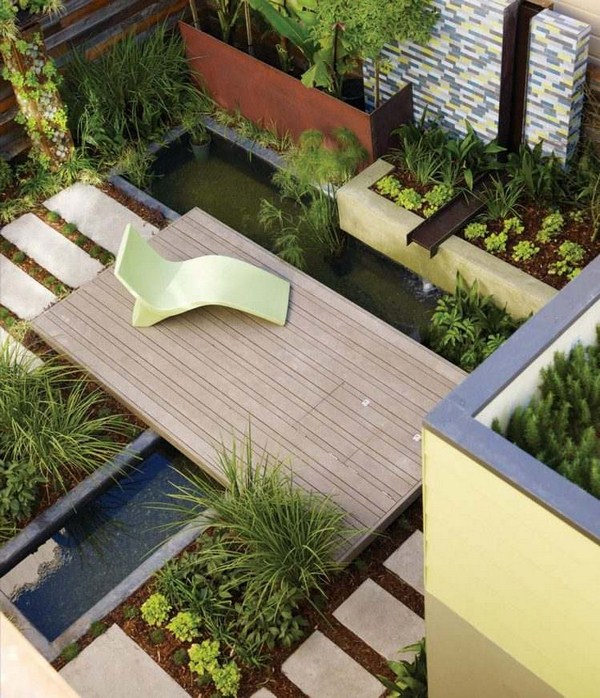 Customize terrace wpc water pond bird's eye view