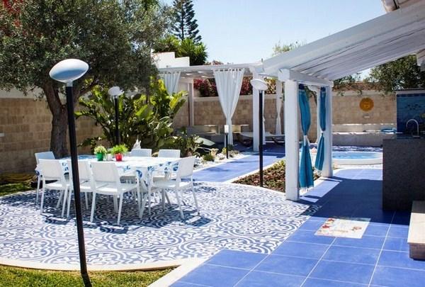 blue-white terrace terrace make Mediterranean ceramic plates