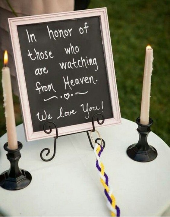 wedding sign honoring loved ones at a wedding